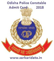 Odisha Police Admit Card 2018