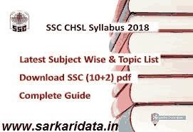 SSC CHSL Syllabus 2018