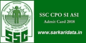 SSC CPO Admit Card 2018