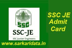 SSC JE Admit Card 2018