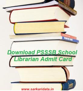 PSSSB School Librarian Admit Card